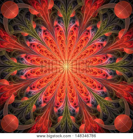 Abstract floral ornament on black background. Symmetrical pattern. Fantasy fractal design in red orange pink and faded green colors.