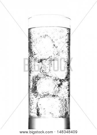 Soda water and ice cubes