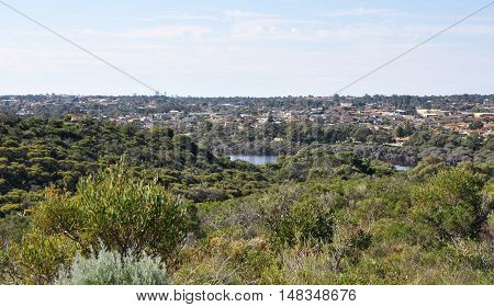 Elevated view over Manning Lake and park with lush, natural reserve wetland setting with housing in the distance in Hamilton Hill, Western Australia.