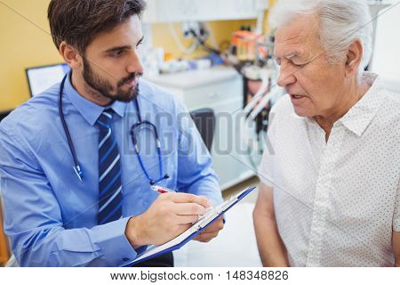 Patient consulting a doctor in the hospital
