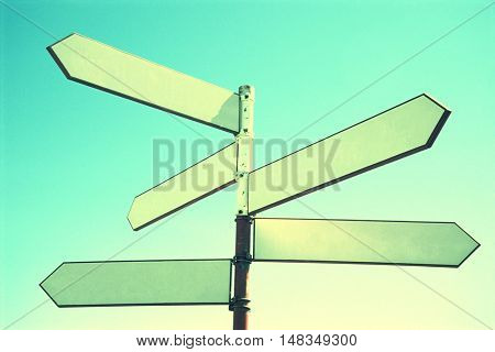 Blank Road Sign on blue green background
