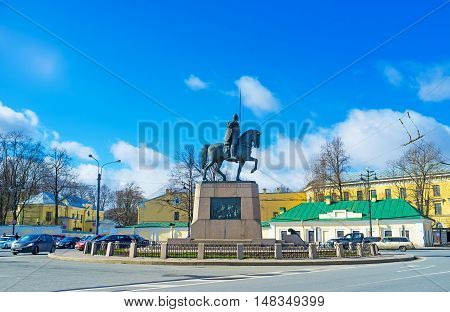 SAINT PETERSBURG RUSSIA - APRIL 25 2015: The equestrian statue of Alexander Nevsky in the center of the eponymous square adjacent to the Alexander Nevsky Monastery on April 25 in Saint Petersburg.