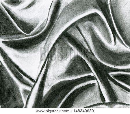 Drapery black coal classical study drawing illustration