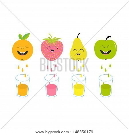 Fresh juice and glasses. Apple strawberry pear orange fruit with faces. Smiling cute cartoon character set. Natural product. Juicing drops. Flat design White background Isolated Vector illustration