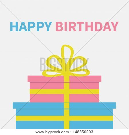 Gift box set with ribbon and bow. Present giftbox. Happy Birthday greeting card. White background. Isolated. Flat design. Vector illustration
