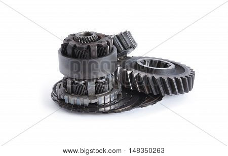Machinery concept. Set of various gears on white background