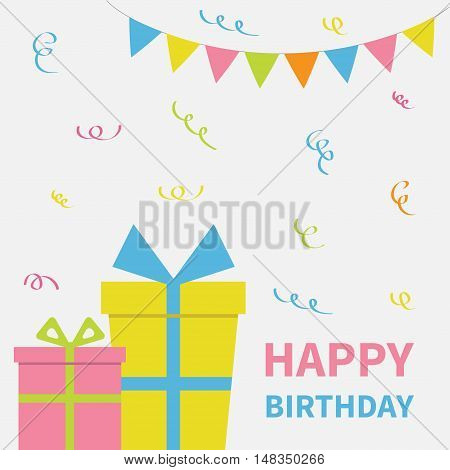 Two Gift boxes with ribbon and bow. Present giftbox. Triangle paper flags. Colorful flag set hanging on rope Confetti. Happy Birthday greeting card. White background. Isolated. Flat design. Vector