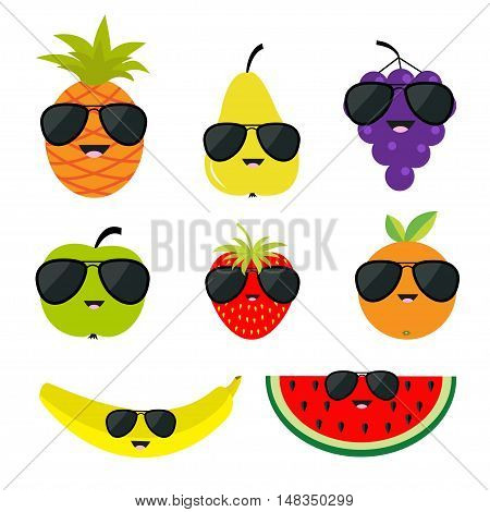 Fruit and berry set sunglasses eyeglasses. Cartoon character face. Banana strawberry orange pineapple grape mellon watermellon pear apple slice Isolated Flat design Vector
