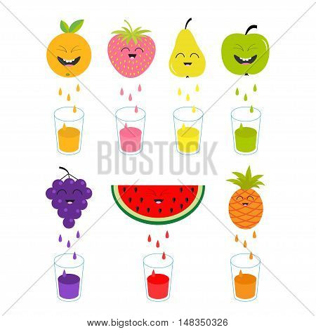Fresh juice and glasses. Apple strawberry pear orange grape watermelon pineaple fruit with faces. Smiling cute cartoon character set. Natural product Juicing drops. Flat design. Isolated Vector