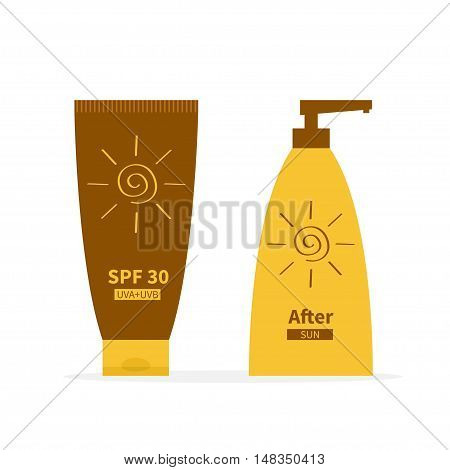 Tube of suntan cream. After sun lotion. Bottle set dispenser. Solar defence icon. SPF 30 sun protection factor. UVA UVB sunscreen. Isolated. White background. Flat design. Vector illustration