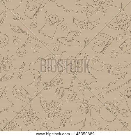 Seamless pattern on the theme of Halloween contour drawings on a beige background