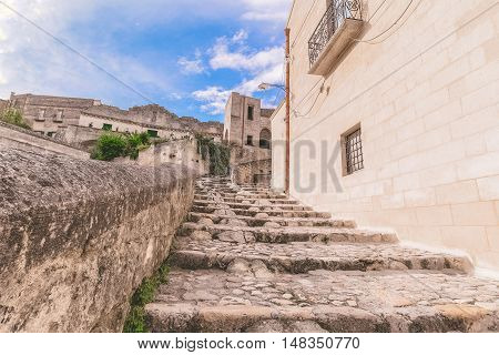 Typical Old Stairs View Of Matera Under Blue Sky