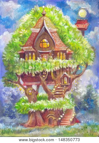 Children's illustration with a fantastic tree house. Fantasy picture painted by hand on canvas. Illustration for the book background poster postcard a drawing for children's products. Wallpaper for the nursery