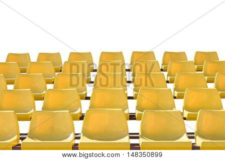Yellow color sport stadium chair with white background for copy-space