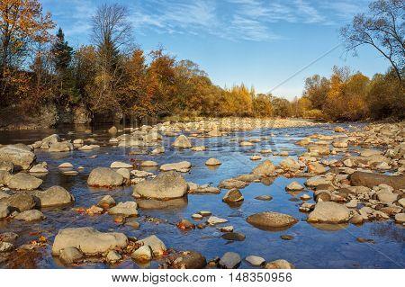 Calm mountain stony river in late autumn. beautiful landscape