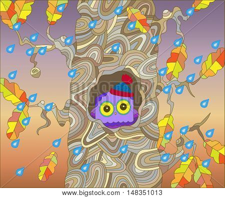 The scene on the theme of autumn with a cute owl in a warm hat hidden in a hollow oak tree on the background of rainy skies and falling leaves