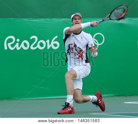 RIO DE JANEIRO, BRAZIL - AUGUST 12, 2016: Olympic champion Andy Murray of Great Britain in action during men's singles quarterfinal of the Rio 2016 Olympic Games at the Olympic Tennis Centre