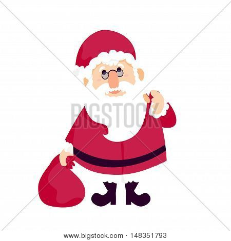 Santa Claus with a bag of gifts on a white background. Vector illustration