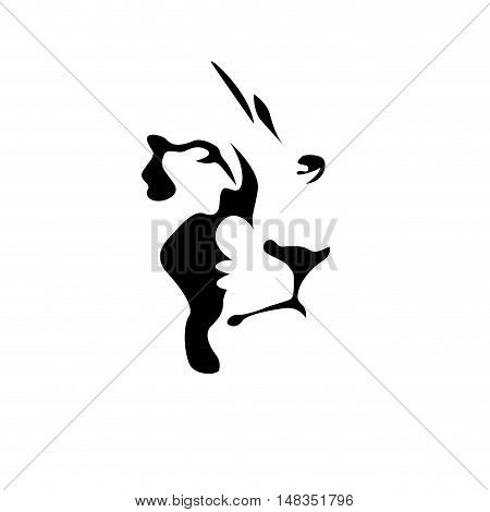 Vector sign black lion  isolated in white