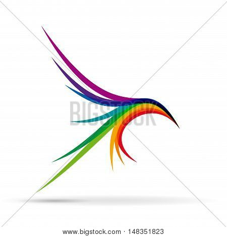 Vector sign abstract bird in flight  isolated in white