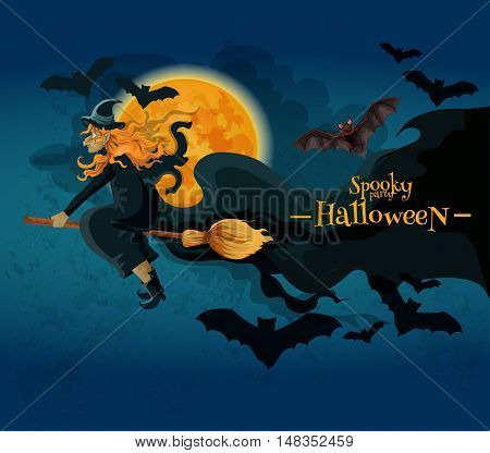 Halloween greeting card with cartoon witch character. Old witch flying on broom with bats in night sky with full moon. Vector halloween party decoration poster design