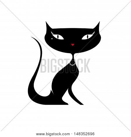 Vector sign beautiful cat  isolated in white