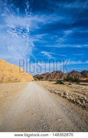 Dirt road in the desert. Hot winter in the desert near the Red Sea in Israel
