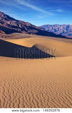 Gentle slopes of sandy barkhans shine orange light. Bright solar morning in picturesque part of Death Valley. Mesquite Flat Sand Dunes