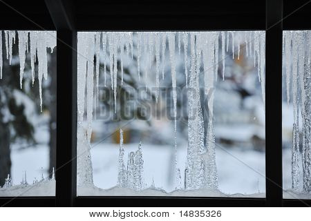 frozen window with ice background