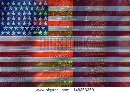 Flag of the United States of America with a large display of daily stock market price and quotations during economic booming period. The fate and mystery of US stock market tunnel/corridor concept.