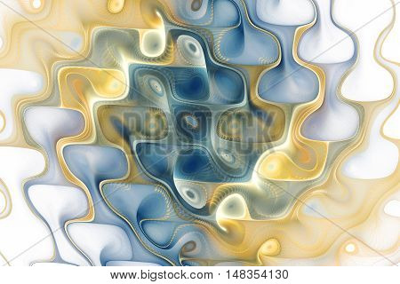 Abstract colorful waves on white background. Fantasy swirly fractal texture in blue light orange and beige colors. Digital art. 3D rendering.