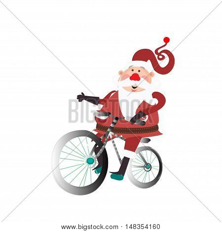 Santa Claus with a bicycle on a white background. Vector illustration