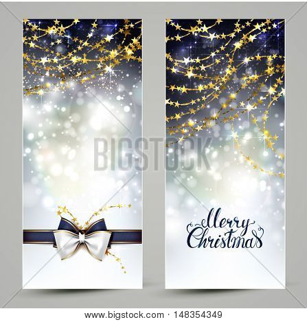 Two Christmas greeting cards with ribbon bow and holiday shine gold garlands.