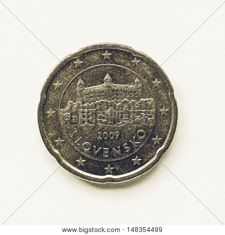 Vintage Slovak 20 Cent Coin