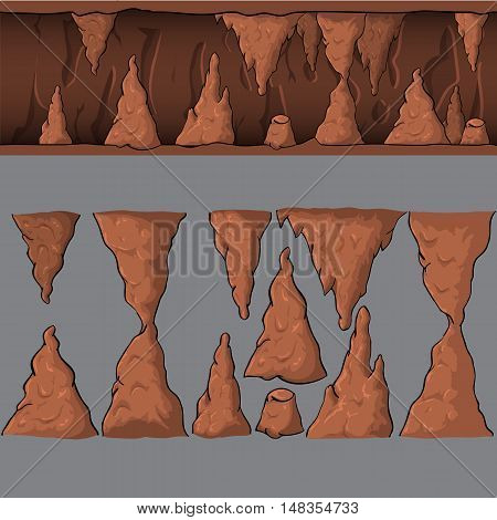 Seamless cartoon vector cave for game and animation, game design asset