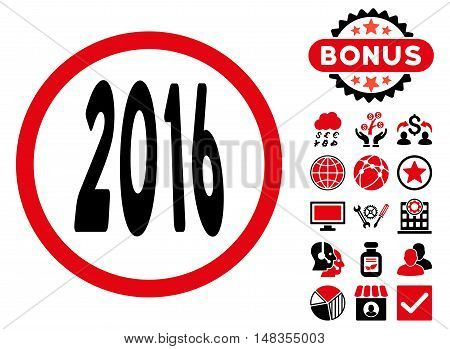 2016 Perspective icon with bonus images. Vector illustration style is flat iconic bicolor symbols intensive red and black colors white background.