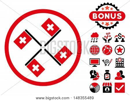 4 Hospital Flags icon with bonus design elements. Vector illustration style is flat iconic bicolor symbols intensive red and black colors white background.