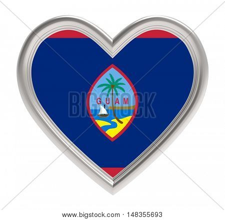 Guam flag in silver heart isolated on white background. 3D illustration.