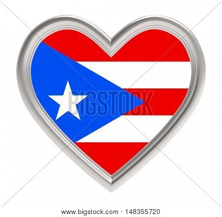 Puerto Rico flag in silver heart isolated on white background. 3D illustration.