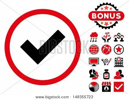 Accept icon with bonus pictures. Vector illustration style is flat iconic bicolor symbols intensive red and black colors white background.
