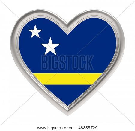 Curacao flag in silver heart isolated on white background. 3D illustration.