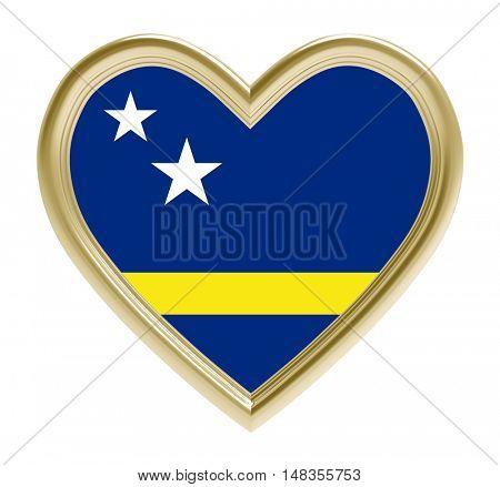 Curacao flag in golden heart isolated on white background. 3D illustration.