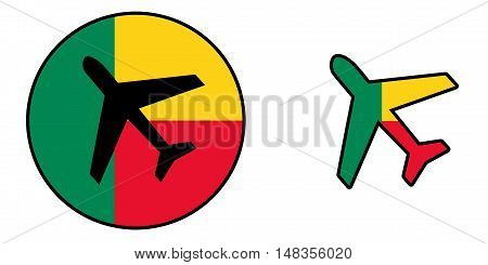 Nation Flag - Airplane Isolated - Benin