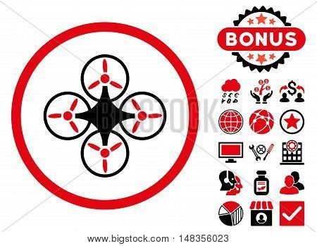 Air Drone icon with bonus pictogram. Vector illustration style is flat iconic bicolor symbols intensive red and black colors white background.