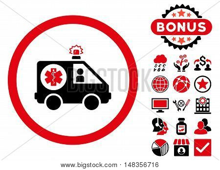 Ambulance Car icon with bonus images. Vector illustration style is flat iconic bicolor symbols intensive red and black colors white background.