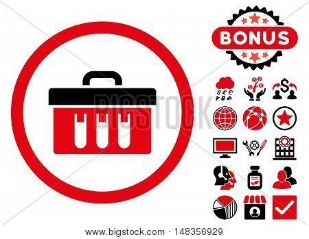 Analysis Box icon with bonus pictures. Vector illustration style is flat iconic bicolor symbols intensive red and black colors white background.