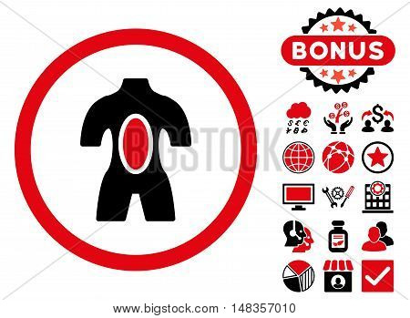 Anatomy icon with bonus elements. Vector illustration style is flat iconic bicolor symbols intensive red and black colors white background.