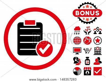 Apply Form icon with bonus images. Vector illustration style is flat iconic bicolor symbols intensive red and black colors white background.