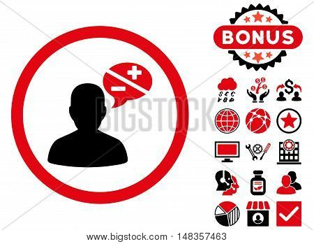 Arguments icon with bonus images. Vector illustration style is flat iconic bicolor symbols intensive red and black colors white background.