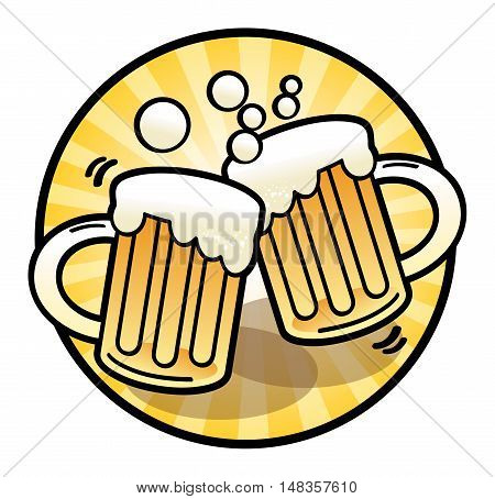 Two beer mug sign or symbol, vector illustration